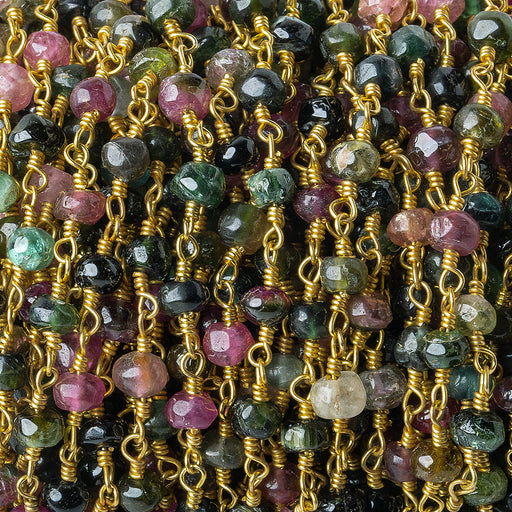 4-4.5mm Multi Color Tourmaline tumbled faceted rondelle Gold plated Chain by the foot 31 pieces