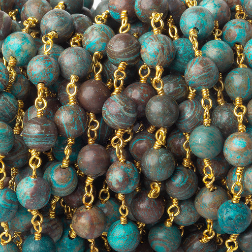 6.5mm Chrysocolla plain round Gold plated Chain by the foot 25 pieces Lab created