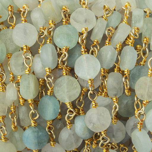 7-7.5mm Matte Multi Beryl plain coin Gold plated Chain by the foot 21 pieces