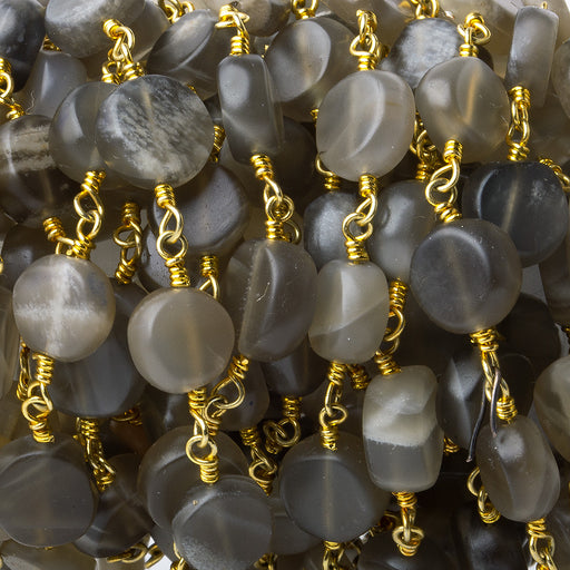 7-8mm Matte Multi Color Moonstone plain coin Gold plated Chain by the foot 23 pcs