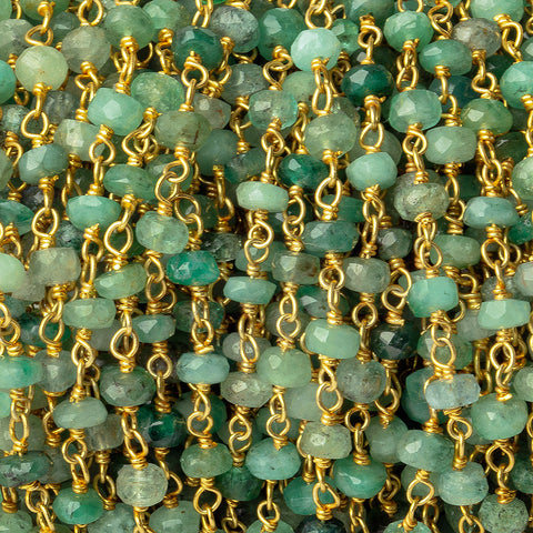 3.5-4mm Emerald faceted rondelle Gold plated Chain by the foot 43 pieces