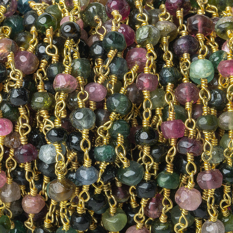 4.5-5mm Multi Color Tourmaline tumbled faceted rondelle Gold plated Chain by the foot 31 pieces