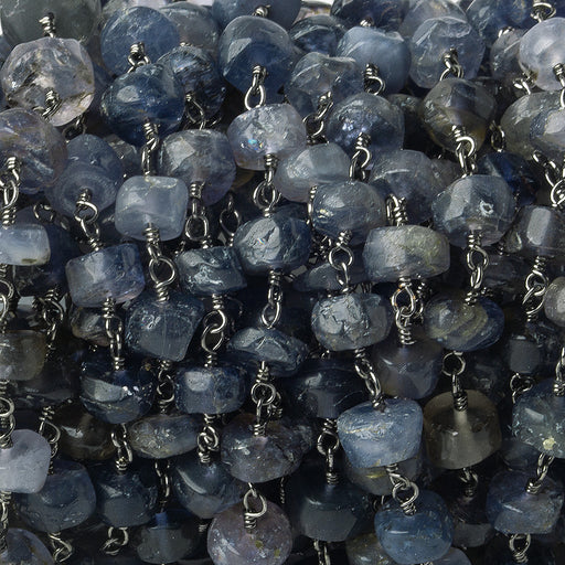 5-6mm Iolite tumbled faceted rondelle Black Gold Chain by the foot 37 pieces