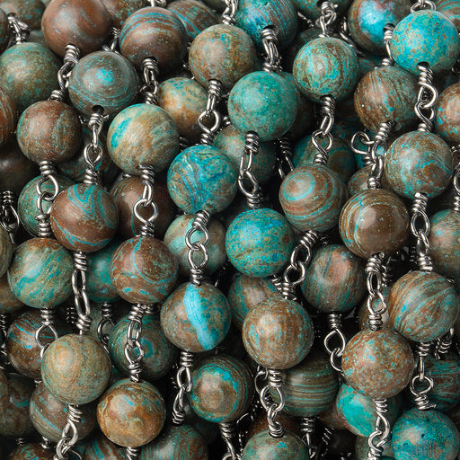 6.5mm Chrysocolla plain round Black Gold plated Chain by the foot 25 pieces