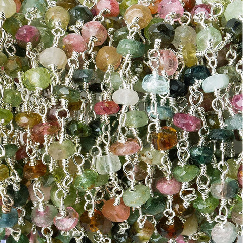 3.5-4mm Multi Color Afghani Tourmaline faceted rondelle Silver plated Chain by the foot 40 pieces