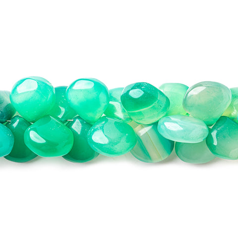 Ombre' Mint Green Chalcedony plain hearts 8 inch 54 beads 13x13mm