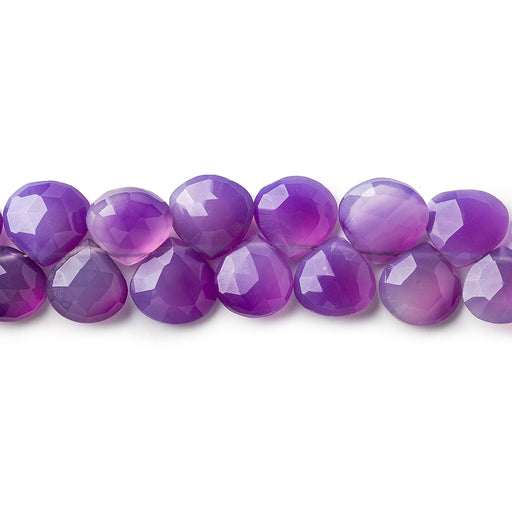 7x7-8x8mm Shaded Purple Chalcedony faceted hearts 8 inch 46 pieces