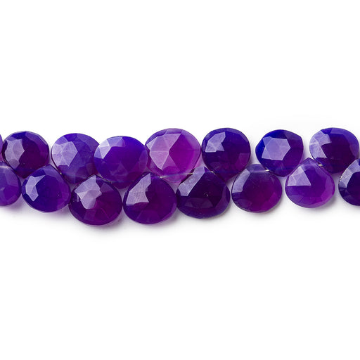 6x6-9x9mm Dark Purple Chalcedony faceted hearts 8 inch 46 pieces