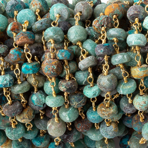 5.5-6mm Matte Chrysocolla faceted rondelle Gold plated Chain by the foot 33 pieces