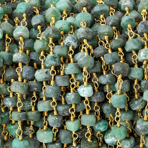 4.5-5mm Matte Emerald faceted rondelle Gold plated Chain by the foot 35 pieces