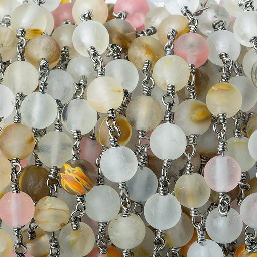 6mm Matte Multi Color Chalcedony plain round Black Gold Chain by the foot 25 pieces