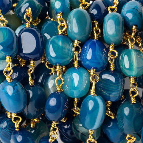 Beautiful range of 8x8-11x7mm Royal Blue Agate plain nugget Gold plated Chain by the foot 19 pieces - Buy From The Bead Traders Online Store.