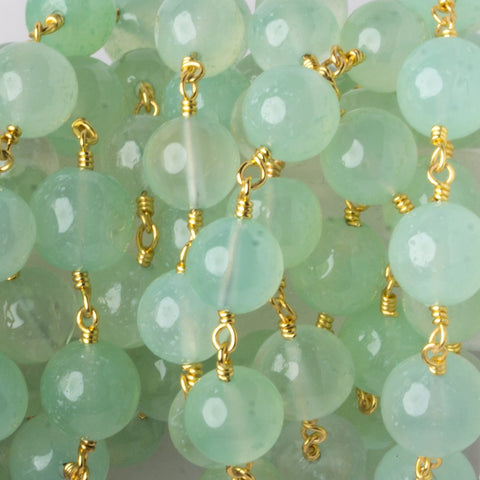 7.5-9mm Key Lime Green Agate plain round Gold plated Chain by the foot 23 pieces