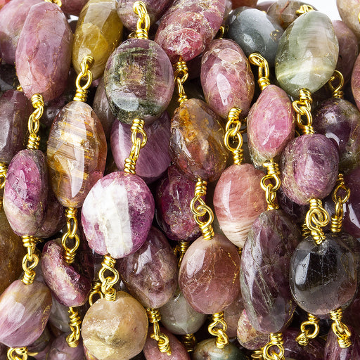 8x7-12x7mm Multi Color Tourmaline tumbled nugget Gold plated Chain by the foot 20 pieces