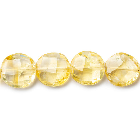 10-14mm Citrine Side Drilled Faceted Coin Beads 8 inch 15 pieces