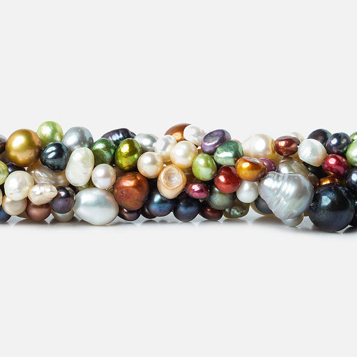 MultiColor Multiple Shape Freshwater Pearls 16 inch 62 pieces