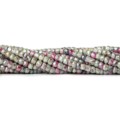 Metallic Ruby in Marble faceted rondelles 4.5mm average 16 inch 120 beads