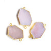 32x18mm Gold Leafed Rose Pink Drusy Connector 1 piece