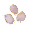 31x18.5mm Gold Leafed Blush Pink Drusy Connector 1 piece