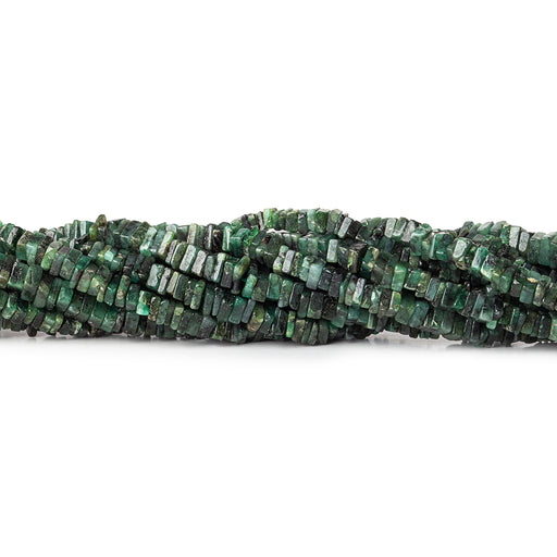 4mm Brazilian Emerald plain square heshi 8 inch 105 pieces