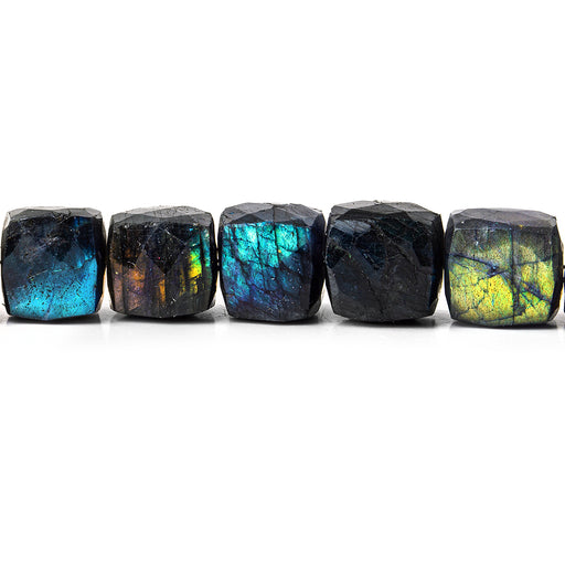 9x9-10x10mm Indigo Labradorite faceted cubes 8 inch 22 beads
