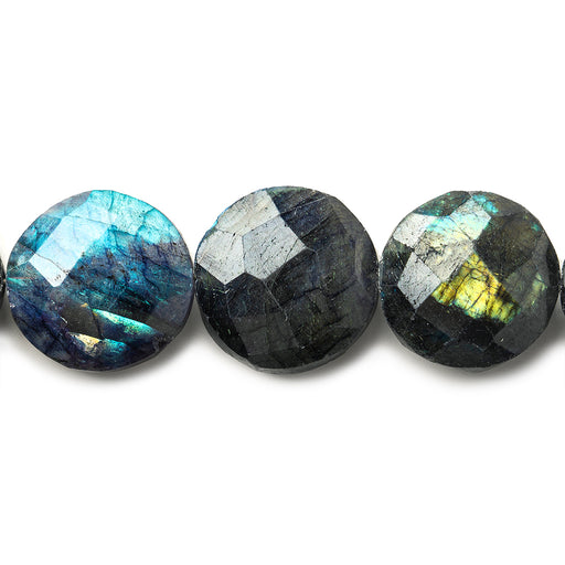 15mm Indigo Labradorite faceted coins 7.5 inch 13 beads