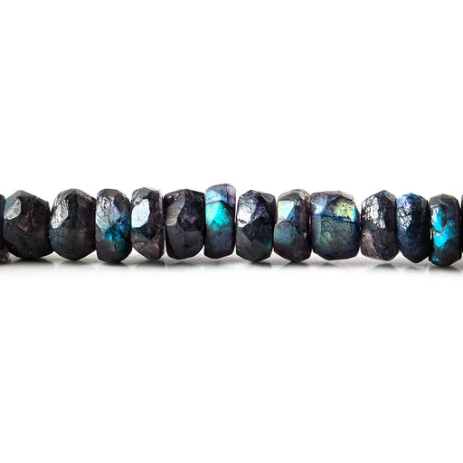 7-7.5mm Indigo Labradorite native faceted rondelle beads 8 inch 55 beads