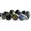 Indigo Labradorite Faceted Coin Beads 8 inch 14 pieces