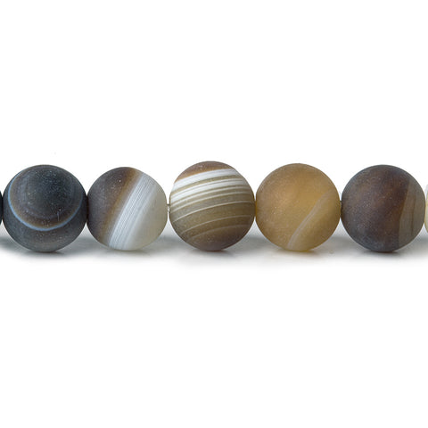 8mm Satin Matte Brown Banded Agate Plain Round 1mm drill hole beads 15.5inch 49 pieces