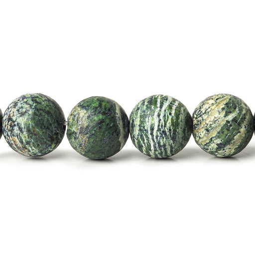 10mm Matte Green Zebra Jasper plain rounds Large 1mm Hole 15 inch 38 beads