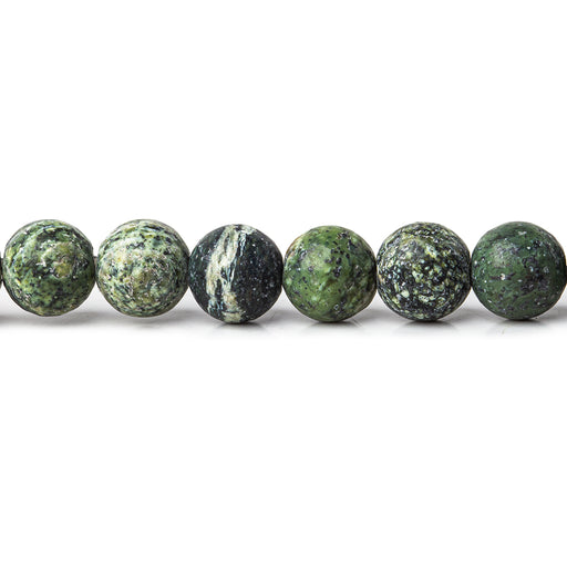 6mm Matte Green Zebra Jasper plain rounds Large 1mm Hole 15 inch 63 beads