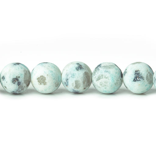8mm Matte Lotus Dalmation Jasper plain rounds Large 1mm Hole 15 inch 45 beads