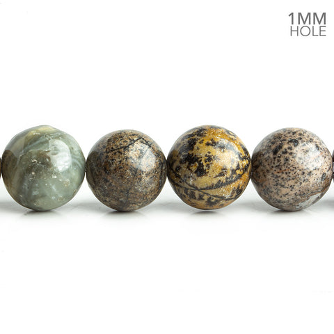 12mm Black Picture Jasper Plain Round Beads 16 inch 35 pieces