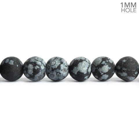 6mm Matte Snowflake Obsidian Plain Round Beads 16 inch 65 pieces