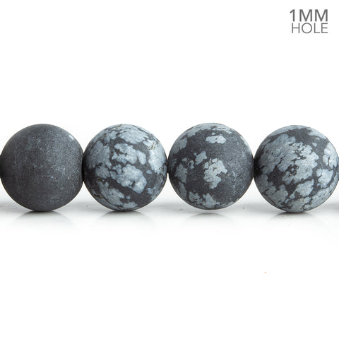 10mm Matte Snowflake Obsidian Plain Round Beads 15 inch 37 pieces