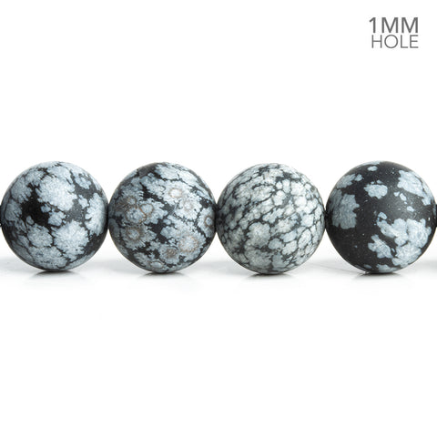 12mm Matte Snowflake Obsidian Plain Round Beads 15 inch 32 pieces
