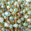 6x5-8x5mm Multi Color Baroque Pearl Gold plated Chain by the foot