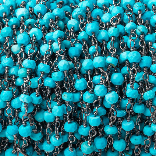 3mm Turquoise Howlite Faceted Rondelle Black Gold plated Chain by the foot