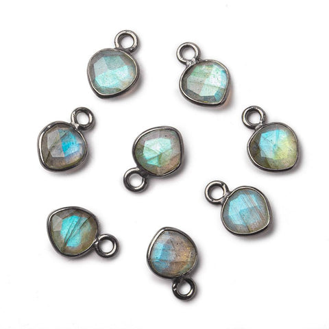 6mm Black Gold Bezeled Labradorite faceted heart pendants Set of 4 pieces