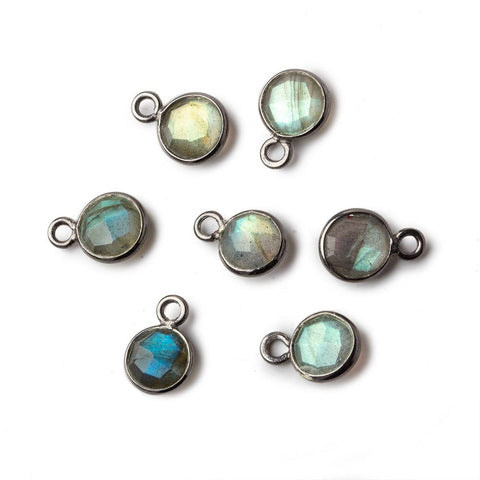 7mm Black Gold .925 Bezel Labradorite faceted coin focal Pendant 1 piece