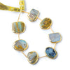 Gold Leafed Blue Peruvian Opal plain nugget strand 7 beads 12x10mm - 14x10mm