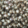 6x4mm Champagne Brown Baroque Freshwater Pearl Black Gold plated Chain by the foot 29 pieces