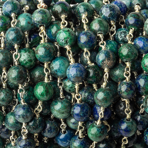 6mm Chrysocolla in Lapis Lazuli Plain Round Silver plated Chain by the foot 26 pieces
