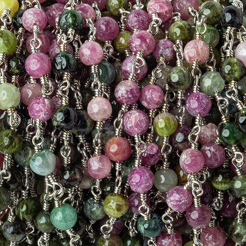 4mm Multi Color Tourmaline Plain Round Silver plated Chain by the foot 29 pieces