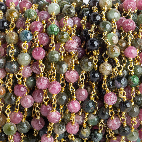4.5mm Multi Tourmaline plain round Gold Chain by the foot 30 beads