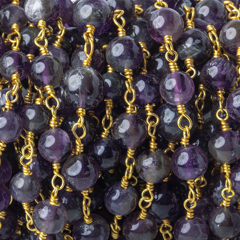 3mm-5mm Amethyst Plain Round Gold plated Chain by the foot 26 pieces