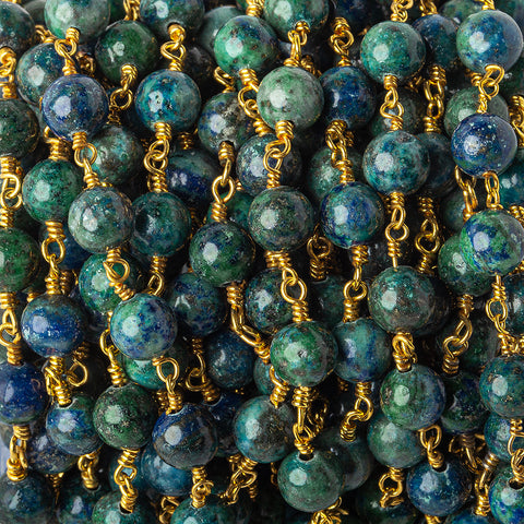 6.7mm Chrysocolla in Lapis Lazuli Plain Round Gold plated Chain by the foot 23 pieces