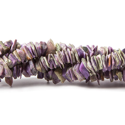 6x5-7x7mm Charoite plain chip beads 7.5 inch 143 pieces