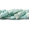 5x5-7x6mm Matte Amazonite polished square nugget beads 8 inch 34 pieces