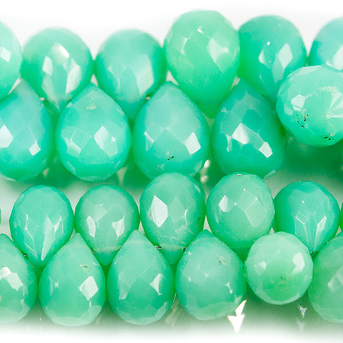 Green Chalcedony Faceted Teardrop Beads 8 inch 70 pieces
